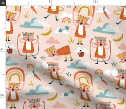 Wild Workout Blush Fitness Pink Animals Nursery Spoonflower Fabric By The Yard