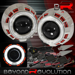 For Nissan Retrofit Headlights Projector H1 Mini Red White Halo Ring Ccfl