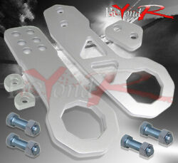 10mm Cnc Aluminum Front And Rear Tow Hook Silver Set Civic Integra Accord Crx