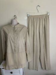 Lutar Womenand039s 100 Silk Beige Embroidered Loose Top Blouse Pull On Pants Sz M
