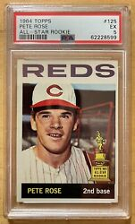 Pete Rose 1964 Topps All-star Rookie 125 Psa 5 Ex Sharp Should Be Higher Grade