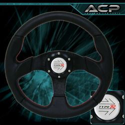 Jdm Kdm Euro Universal 6bolt Pvc Leather Red Stitching Black Type-r Horn Button