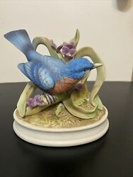 """Andrea By Sadek Blue Bird Porcelain Figurine With Flowers 6"""" In Height"""
