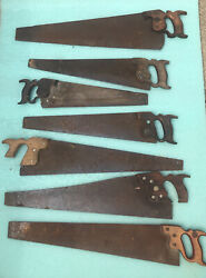 Hand Saws Mixed Lot Of Rusty Old Saws Lot Of Seven Antique Primitive Tools