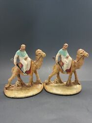 Rare Antique Hubley Bookends - Bedouin, Sheik, Arab, Camel, Middle East Painted
