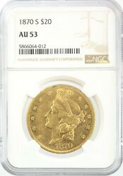 1870-s Liberty Gold Double Eagle 20 About Uncirculated Ngc Au53