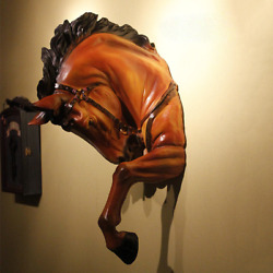 Resin Large Size Horse Head Statue Wall Hanging Animal Sculpture Home Art Decor