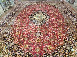10x14 Red Traditional Oriental Rug Medallion Allover Floral Top Quality Antique