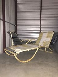 Pair Of Water Lamb Black Rope Chaise Loungers From Design Within Reach