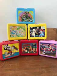 Vintage 6 Lunch Boxes No Thermos. Mickey M, Cabbage Patch, Muppets, Roger R.