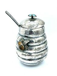 Emilia Castillo Sterling Honey Pot Hive And Flower Spoon Amber Bee Mexican Silver