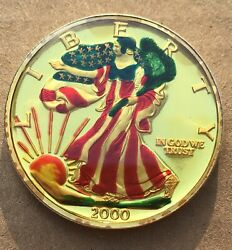 2000 Liberty =colorized 1 Oz .999 Silver Coin - The Dawn Of A New Millennium