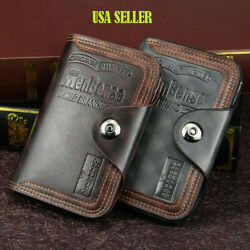 Mens Men#x27;s S4 Retro Leather Vertical Section Credit Card Holder Wallet with Hasp $8.85