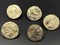 Old Coins Ancient Eastern Bactrian Indo Greeks Hellenistic Silver Antiquities