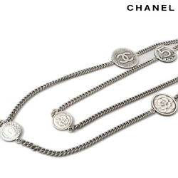 Necklace Chain Silver Metal Camellia No5 Medal Cc Coco 08a Authentic
