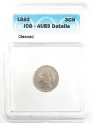 1883 Three Cent Nickel 3c About Uncirculated Icg Au53 Details Cleaned