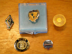 5 Antique And Vintage Gold Medical Service Lapel Pins 14k And 10k Gold, Etc.