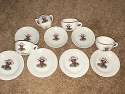 Vintage Childs Tea Set 11 Pieces Made In Japan Little Girl And Dog, Hat On Head