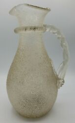 Rare Boston And Sandwich Glass Victorian Overshot Crackle Glass Pitcher Decanter
