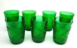 7 Anchor Hocking Sandwich Forest Green Glass Tumblers 9 Oz Depression Midcentury