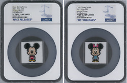 2021 Niue Chibi Disney Mickey Mouse And Minnie Mouse 2-coin Set Ngc Pf69 Fr W/ogp