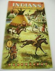 Vtg Paper Dolls Toy 1956 Indians Golden Funtime Punch Book Unused Giant