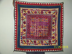 Antique Original Western India Chakla W/mirrors Ceremonial Tapestry Wall Hanging