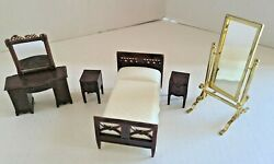 Lot Of Miniature Doll House Furniture Bedroom Mirrors Bed Night Stands Vintage