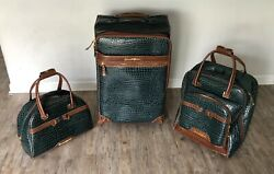 Samantha Brown 3 Piece Ombre Croco-embossed Large Med Small Spinner Bag Peacock
