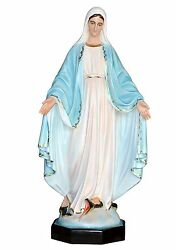 Our Lady Of Grace Fiberglass Statue Cm. 132 With Glass Eyes