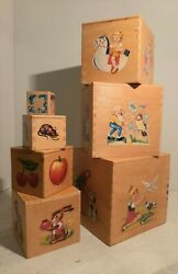 Vintage Toy Wooden Fairytale Nesting Boxes Dove Tail Construction