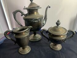 Vintage Antique King George Silver Silver-plate Pitcher Sugar And Creamer Very Old