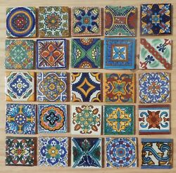 500talavera Mexican Pottery Tile 4 Mural Assorted Cobalt Blue Creamy Off White