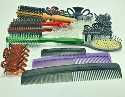 Hair Brushes Combs And Clips Plastic Wood Items Lot 15