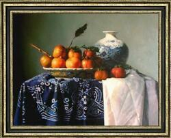 Hand Painted Original Oil Painting Art Still Life Persimmon On Canvas 30x40