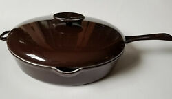 Copco 12 Covered Skillet Fry Saute Pan Cast Iron Enamel Brown Denmark Lax Mcm