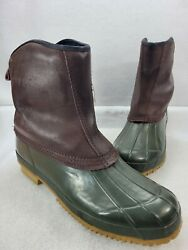 Cudas Mens Green Brown Steel Shank Leather Round Toe Mid Duck Boots Size 12