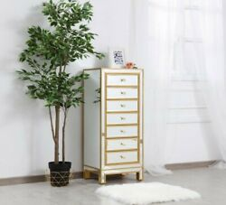 Mirrored Dresser Cabinet Chest Antique Gold Living Room Bedroom 7 Drawers 42