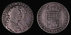 Great Britain 1689 William And Mary Halfcrown Km 472.1 World Silver Coin
