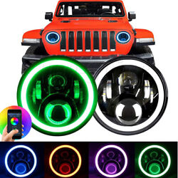 2x 7and039and039 Led Rgb Headlights Drl Halo Angel Eye Headlamps For F-100 F100 1969-1979
