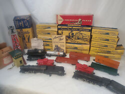 Gilbert American Flyer Model Train Lot 1950s 11 Cars Track Boxes Accs And More