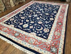 Vintage Indian Rug Allover Floral Oriental Rug Hand Knotted Wool Blue And Red 8x11