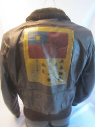Type G-1 Brown Leather Flight Bomber Jacket Size S W/ Blood Chit