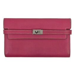 Hermes Kelly Wallet Long Bill Compartment Coin Pocket Bifold Purse Veau Epso...
