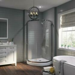 Ove Decors Corner Shower Kit 36 In. X 76 In. Grip-handle Reversible Clear-glass