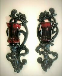 Vintage Black And Dark Red Glass Gothic Wall Sconces Homco Modified Halloween