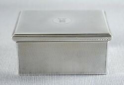 Antique French Silver Gustave Keller Engine Turned Trinket Jewellery Box C1920
