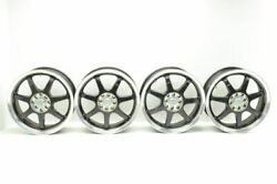 Set Of Four 17x7 Inch Aftermarket Wheels Black And Chrome 7 Spoke