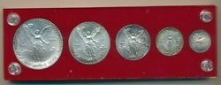 1992 Mexico Silver Libertad 5 Coin Set-in Holder W/pouch And Stand-ships Free