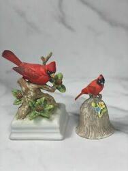 Vintage Gorham Cardinal Bird On Branch Music Box And Towle Cardinal Bell